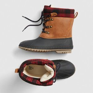 NWT Gap Kids Plaid Dark Brown Duck Boots